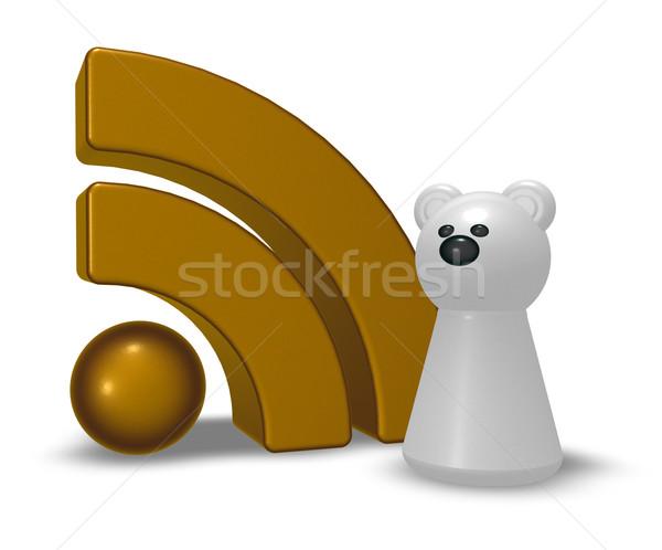 Orso polare rss simbolo illustrazione 3d computer internet Foto d'archivio © drizzd
