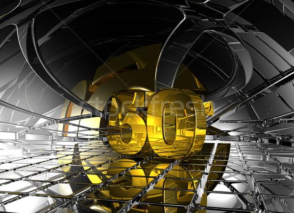 Zahl fünfzig abstrakten futuristisch Raum 3D-Darstellung Stock foto © drizzd