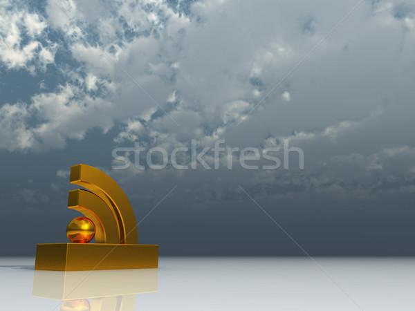 Rss символ облачный Blue Sky 3d иллюстрации компьютер Сток-фото © drizzd