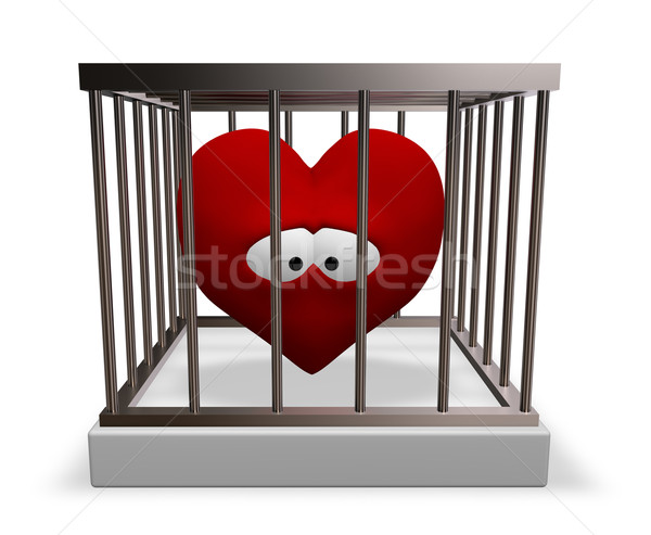 metal cage with red sad heart inside - 3d rendering Stock photo © drizzd
