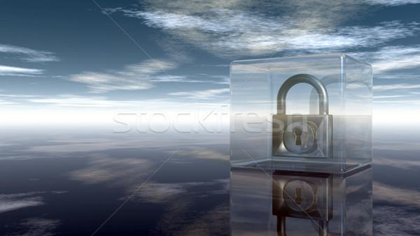 Candado vidrio cubo nublado cielo 3d Foto stock © drizzd
