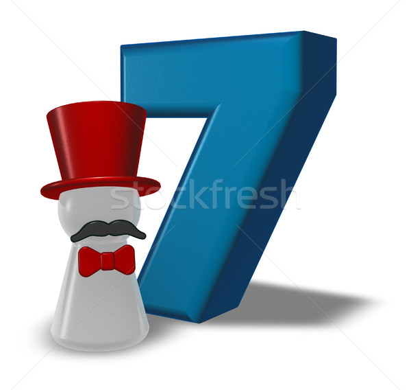 Número siete peón sombrero barba 3D Foto stock © drizzd