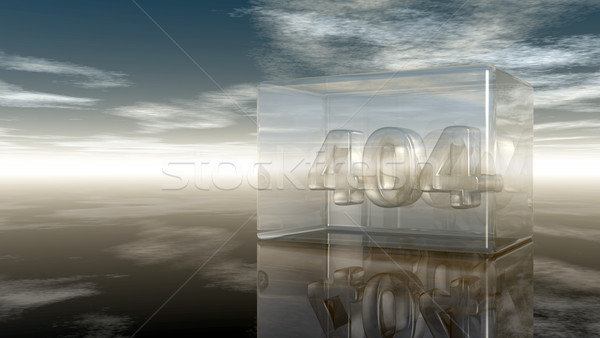 number 404 in glass under cloudy sky - 3d illustration Stock photo © drizzd