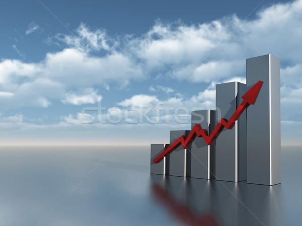 Tabla gráfico de negocio nublado cielo azul 3d cielo Foto stock © drizzd