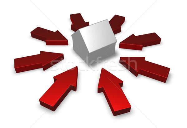 Foto stock: Em · torno · de · casa · modelo · ilustração · 3d · edifício