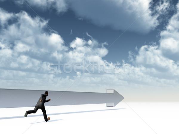 Uomo arrow orizzonte 3D eseguire persona Foto d'archivio © drizzd
