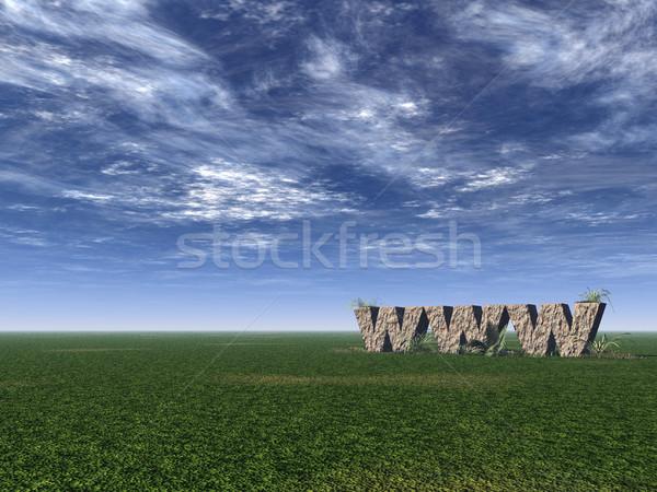 Www rotsen rock groene veld 3d illustration Stockfoto © drizzd