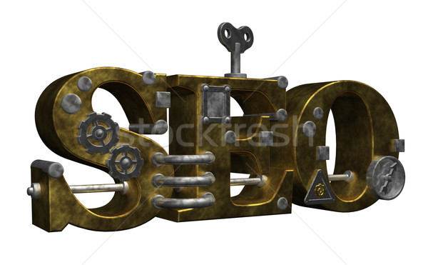 Steampunk seo rétro industrielle lettres blanche Photo stock © drizzd