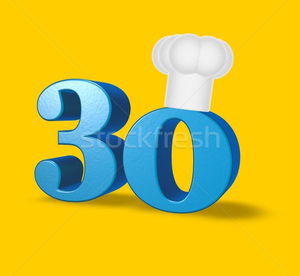 Numara otuz pişirmek şapka sarı 3d illustration Stok fotoğraf © drizzd