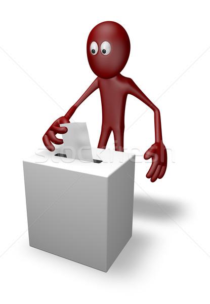 голосование Cartoon парень голосования окна 3d иллюстрации Сток-фото © drizzd