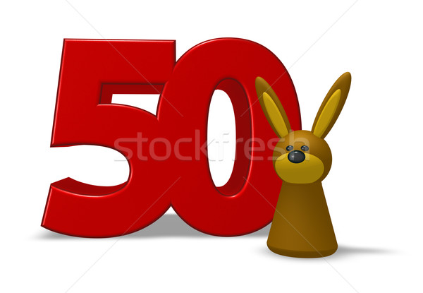 Nombre cinquante lapin 3d illustration lapin anniversaire Photo stock © drizzd