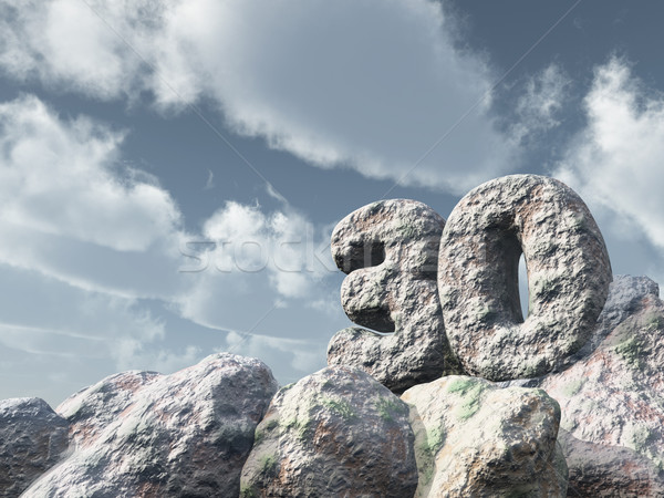 Nombre trente Rock nuageux ciel bleu 3d illustration Photo stock © drizzd
