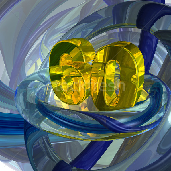 Zestig gouden aantal techno ruimte 3d illustration Stockfoto © drizzd