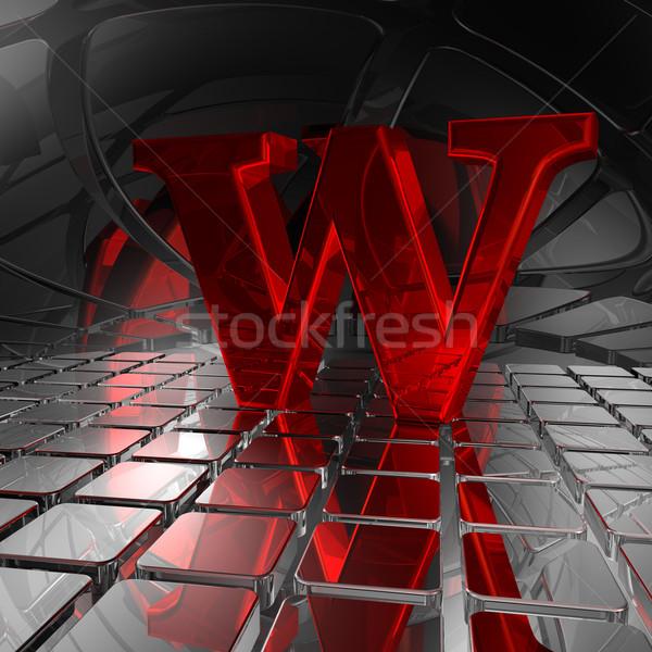 Futurystyczny przestrzeni czerwony list w 3d ilustracji metal Zdjęcia stock © drizzd