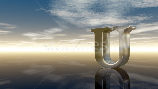 metal uppercase letter u under cloudy sky - 3d rendering Stock photo © drizzd