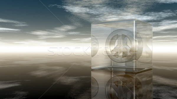 pacific symbol in glass cube under cloudy sky - 3d rendering Stock photo © drizzd