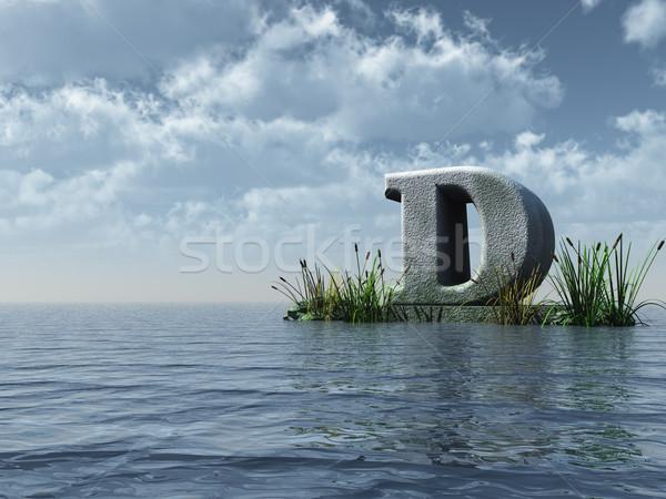 Сток-фото: буква · d · воды · пейзаж · 3d · иллюстрации · облака · природы