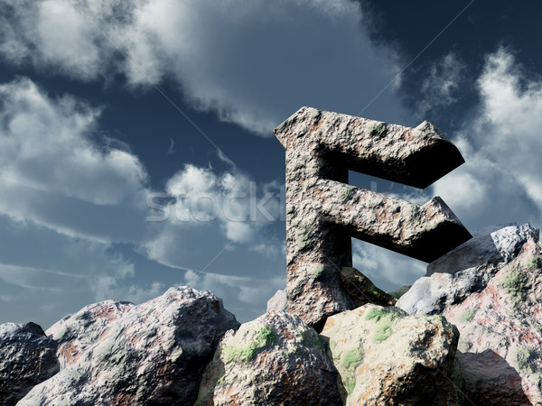 Stock photo: rune rock under cloudy blue sky - 3d illustration