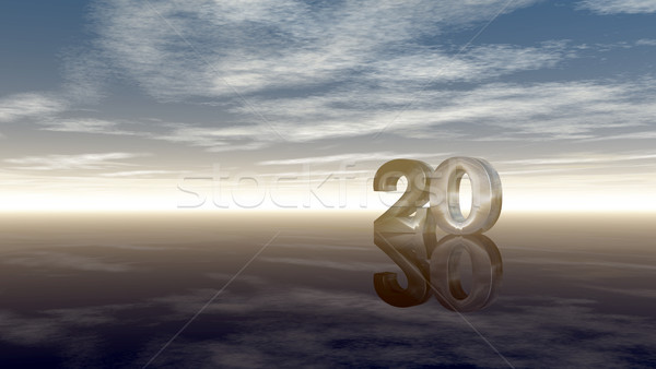 number twenty under cloudy sky - 3d rendering Stock photo © drizzd