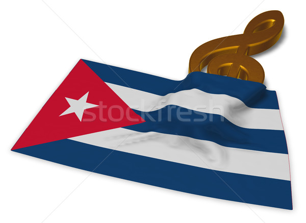 clef symbol and flag of cuba - 3d rendering Stock photo © drizzd