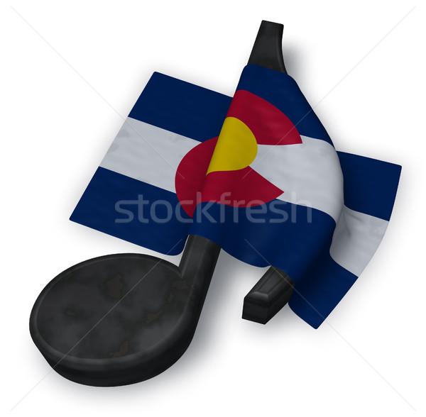 Muziek nota symbool vlag 3D Stockfoto © drizzd