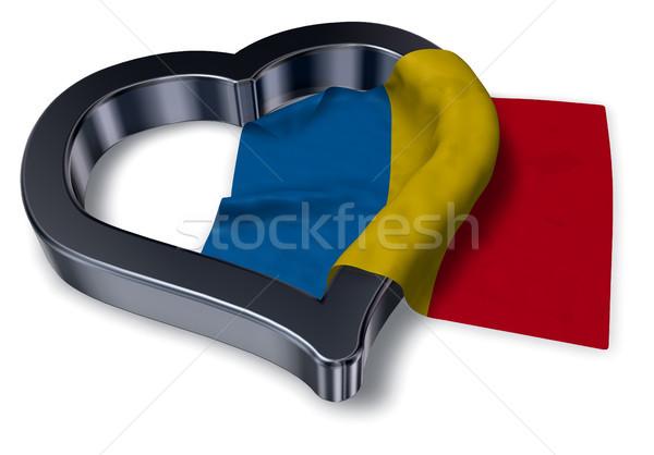 Bandera corazón símbolo 3D matrimonio Foto stock © drizzd