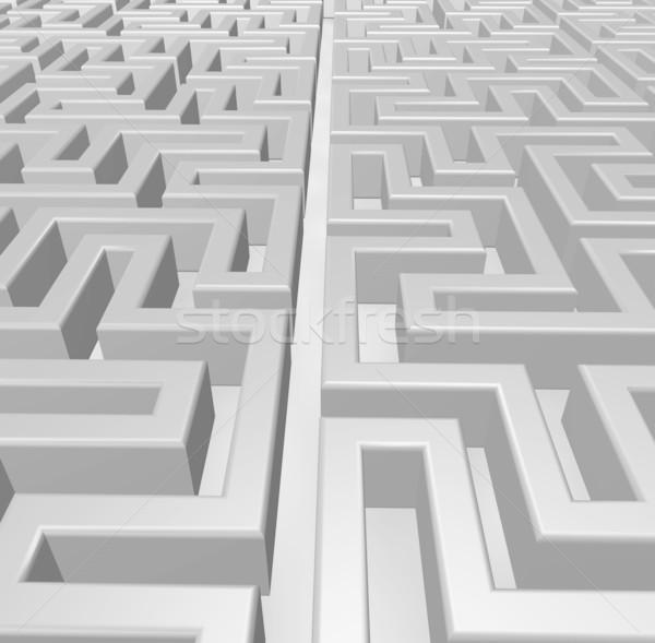 Labyrint 3d illustration abstract helpen patroon Zoek Stockfoto © drizzd