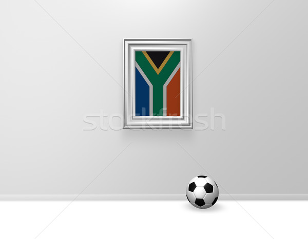 South Africa voetbal vlag wond voetbal 3d illustration Stockfoto © drizzd
