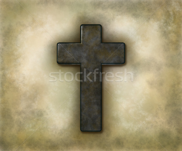 christian cross on grunge background - 3d illustration Stock photo © drizzd