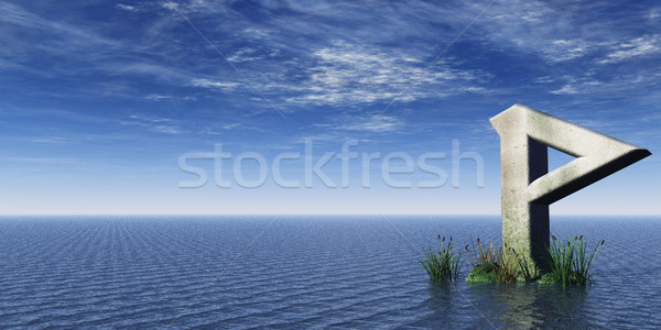 Viking rock oceaan 3d illustration wolken religieuze Stockfoto © drizzd