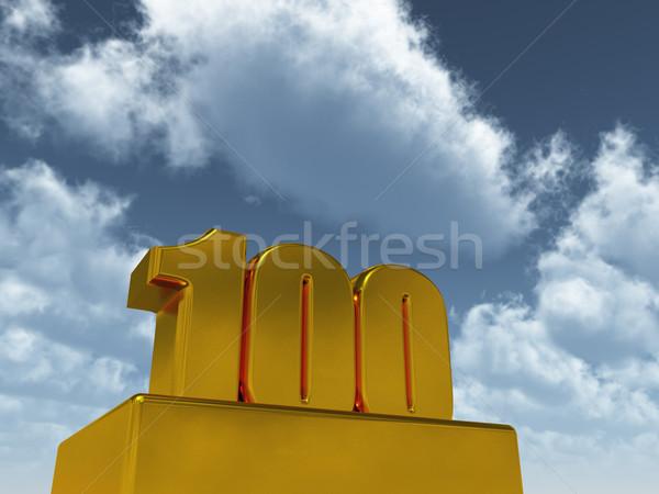 Stok fotoğraf: Yüz · mavi · gökyüzü · 3d · illustration · parti · doğum · günü