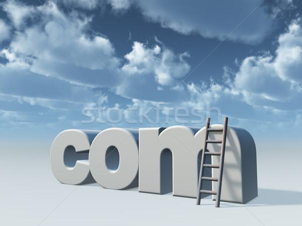 Domein ladder bewolkt hemel 3d illustration web Stockfoto © drizzd