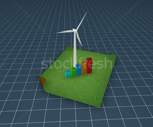 Чистая энергия ветровой турбины бизнес-графика трава 3d иллюстрации энергии Сток-фото © drizzd