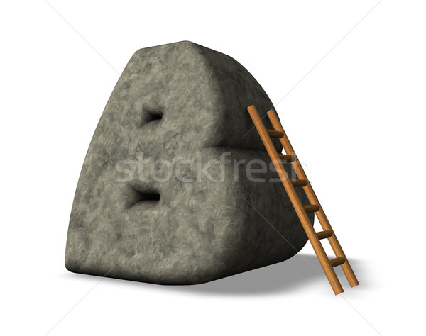 Taş mektup merdiven 3d illustration okul mutlu Stok fotoğraf © drizzd