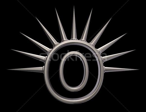 O betű fém fekete 3d illusztráció iskola művészet Stock fotó © drizzd