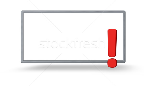 Attention cadre point d'exclamation blanche 3d illustration signe Photo stock © drizzd
