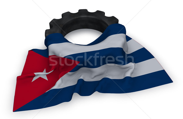 gear wheel and flag of cuba - 3d rendering Stock photo © drizzd