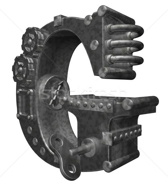 Steampunk g betű fehér 3d illusztráció óra művészet Stock fotó © drizzd