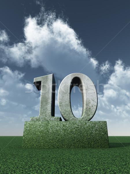 числа десять каменные облачный Blue Sky 3d иллюстрации Сток-фото © drizzd
