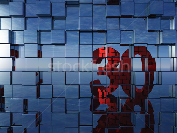 Photo stock: Nombre · trente · mur · métal · cubes · 3d · illustration