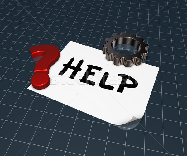 the word help on paper sheet, gear wheel and question mark - 3d rendering Stock photo © drizzd