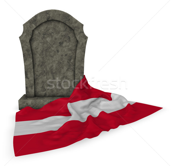 gravestone and flag of austria - 3d rendering Stock photo © drizzd