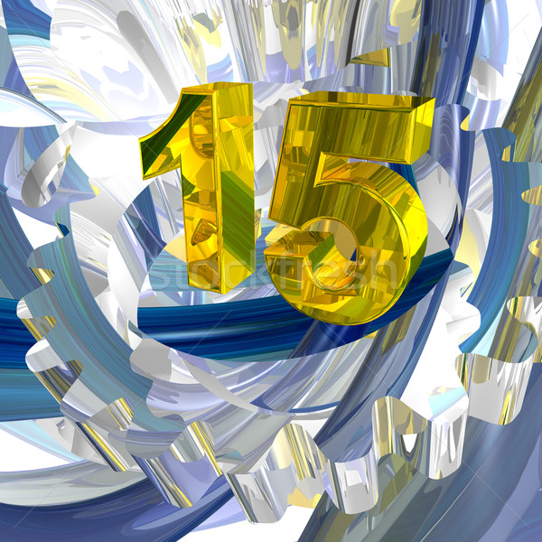 Vijftien gouden aantal techno ruimte 3d illustration Stockfoto © drizzd