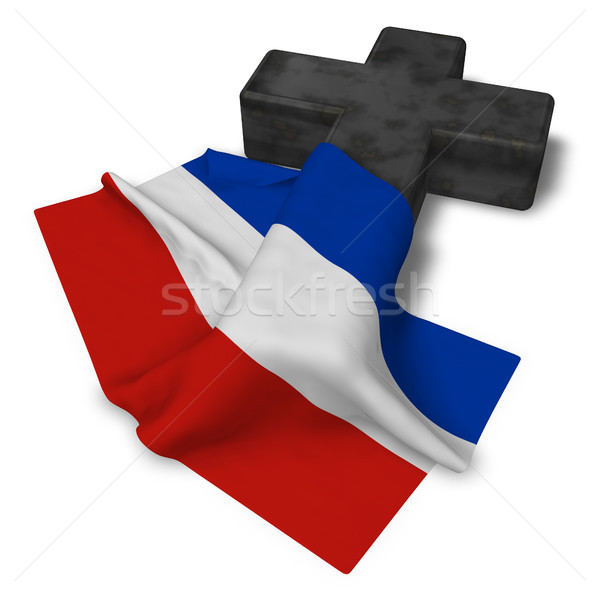 christian cross and flag of schleswig-holstein - 3d rendering Stock photo © drizzd