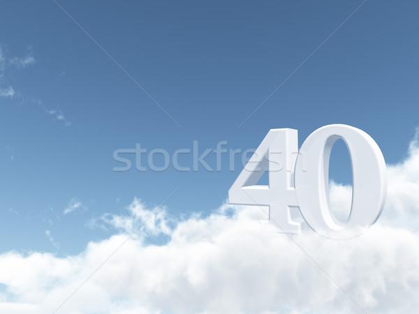 Czterdzieści numer 40 chmury 3d ilustracji niebieski Zdjęcia stock © drizzd
