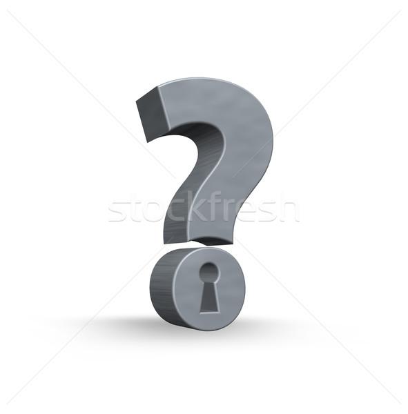 вопросительный знак замочную скважину белый 3d иллюстрации безопасности поддержки Сток-фото © drizzd