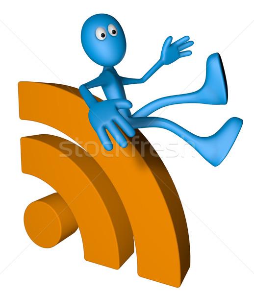 Rss символ синий парень 3d иллюстрации интернет Сток-фото © drizzd