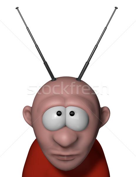 Anten karikatür adam kafa 3d illustration televizyon Stok fotoğraf © drizzd
