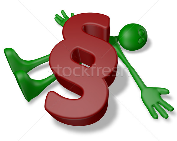 paragraph symbol on dead green guy - 3d illustration Stock photo © drizzd