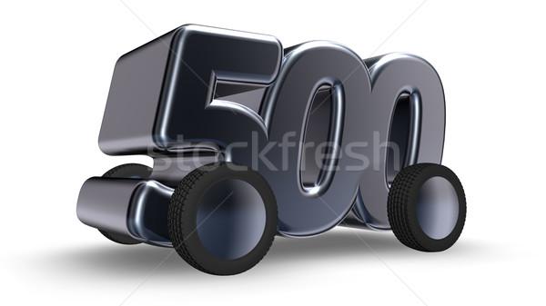 Stockfoto: Vijf · honderd · wielen · aantal · 3d · illustration · auto